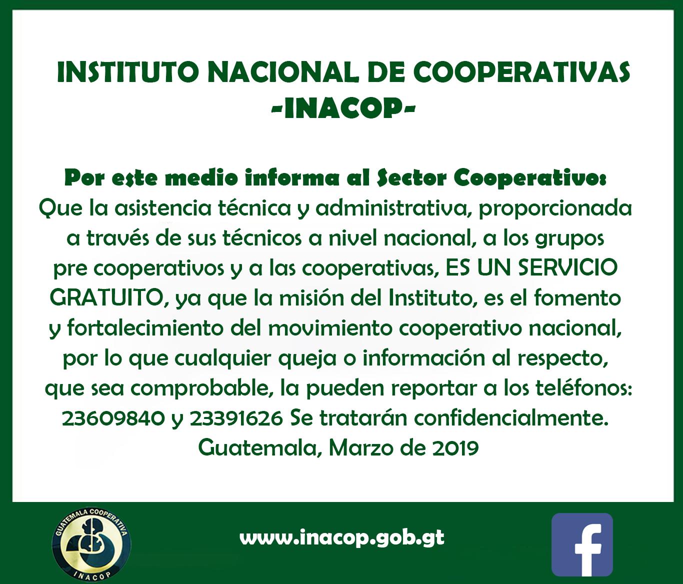 Por este medio informa al Sector Cooperativo: